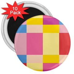 Colorful Squares Background 3  Magnets (10 pack)