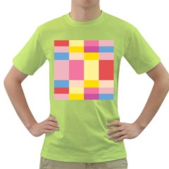Colorful Squares Background Green T Shirt