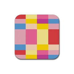 Colorful Squares Background Rubber Square Coaster (4 Pack)