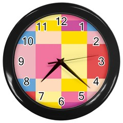 Colorful Squares Background Wall Clocks (Black)