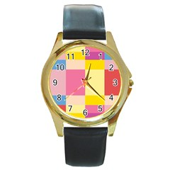 Colorful Squares Background Round Gold Metal Watch