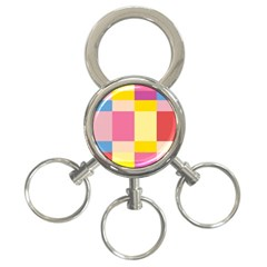 Colorful Squares Background 3-Ring Key Chains