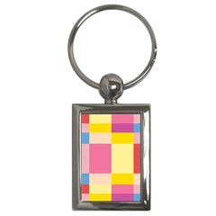 Colorful Squares Background Key Chains (rectangle)
