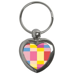 Colorful Squares Background Key Chains (heart)