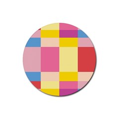 Colorful Squares Background Rubber Round Coaster (4 Pack)