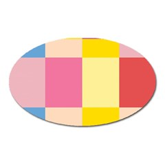 Colorful Squares Background Oval Magnet