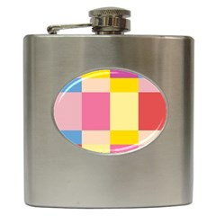 Colorful Squares Background Hip Flask (6 oz)