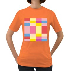Colorful Squares Background Women s Dark T Shirt