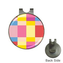 Colorful Squares Background Hat Clips with Golf Markers