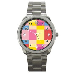 Colorful Squares Background Sport Metal Watch