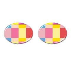Colorful Squares Background Cufflinks (oval)