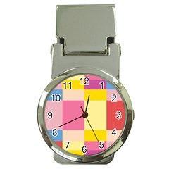 Colorful Squares Background Money Clip Watches