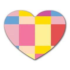 Colorful Squares Background Heart Mousepads