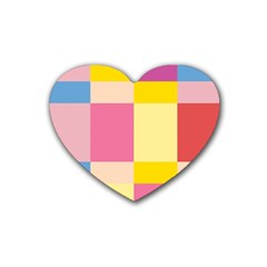 Colorful Squares Background Rubber Coaster (Heart)