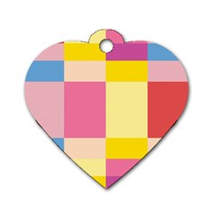 Colorful Squares Background Dog Tag Heart (Two Sides)