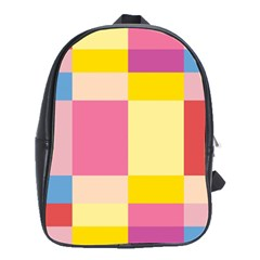 Colorful Squares Background School Bags(Large)