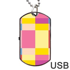 Colorful Squares Background Dog Tag USB Flash (One Side)