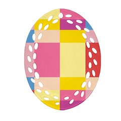 Colorful Squares Background Oval Filigree Ornament (Two Sides)