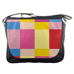 Colorful Squares Background Messenger Bags
