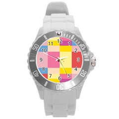 Colorful Squares Background Round Plastic Sport Watch (L)