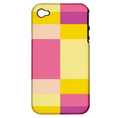 Colorful Squares Background Apple iPhone 4/4S Hardshell Case (PC+Silicone)