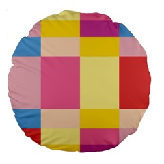 Colorful Squares Background Large 18  Premium Round Cushions