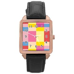 Colorful Squares Background Rose Gold Leather Watch