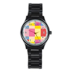 Colorful Squares Background Stainless Steel Round Watch