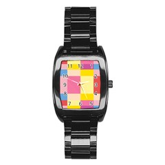 Colorful Squares Background Stainless Steel Barrel Watch
