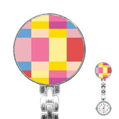 Colorful Squares Background Stainless Steel Nurses Watch