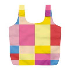 Colorful Squares Background Full Print Recycle Bags (L)