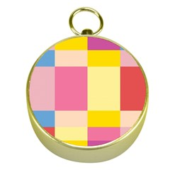 Colorful Squares Background Gold Compasses