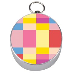 Colorful Squares Background Silver Compasses