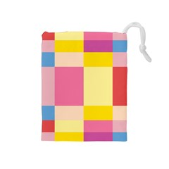 Colorful Squares Background Drawstring Pouches (Medium)