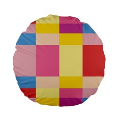 Colorful Squares Background Standard 15  Premium Flano Round Cushions