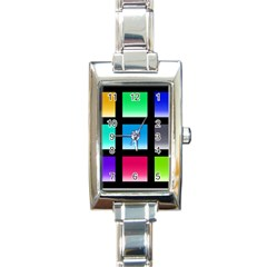 Colorful Background Squares Rectangle Italian Charm Watch
