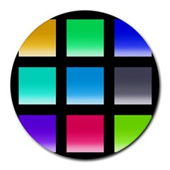 Colorful Background Squares Round Mousepads