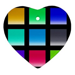 Colorful Background Squares Ornament (heart)