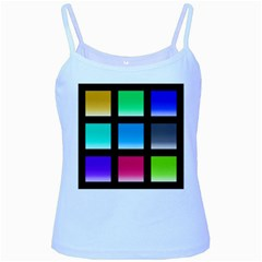 Colorful Background Squares Baby Blue Spaghetti Tank