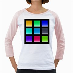 Colorful Background Squares Girly Raglans