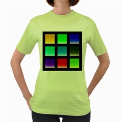 Colorful Background Squares Women s Green T-Shirt