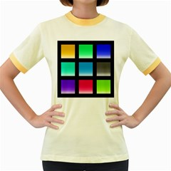 Colorful Background Squares Women s Fitted Ringer T-Shirts