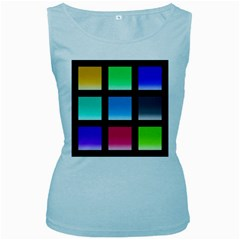Colorful Background Squares Women s Baby Blue Tank Top