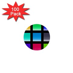 Colorful Background Squares 1  Mini Buttons (100 pack)