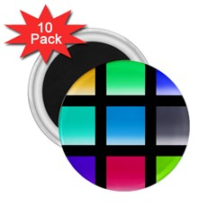 Colorful Background Squares 2.25  Magnets (10 pack)