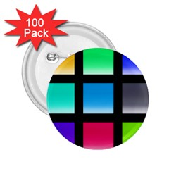 Colorful Background Squares 2.25  Buttons (100 pack)