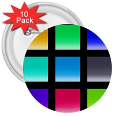 Colorful Background Squares 3  Buttons (10 Pack)