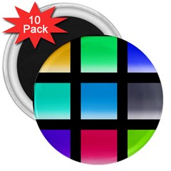 Colorful Background Squares 3  Magnets (10 pack)