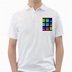 Colorful Background Squares Golf Shirts