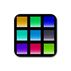 Colorful Background Squares Rubber Square Coaster (4 pack)